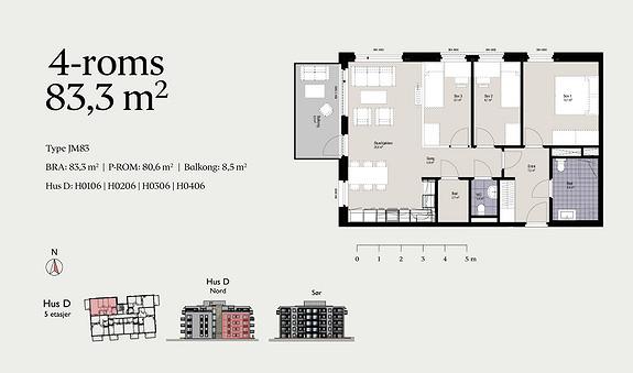 Plantegning som viser leilighet D0406 - JM83