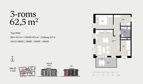 Plantegning som viser leilighet D0205 - JM62