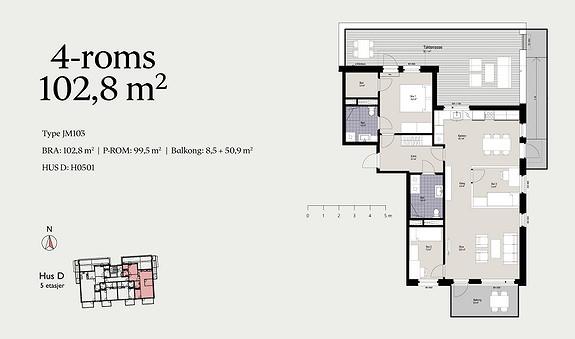 Plantegning som viser leilighet D0501 - JM103