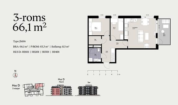 Plantegning som viser leilighet D0201 - JM66