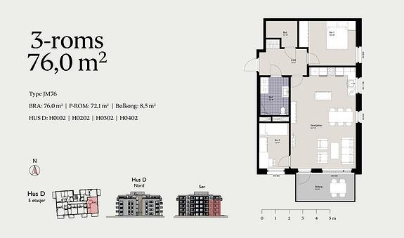 Plantegning som viser leilighet D0302 - JM76