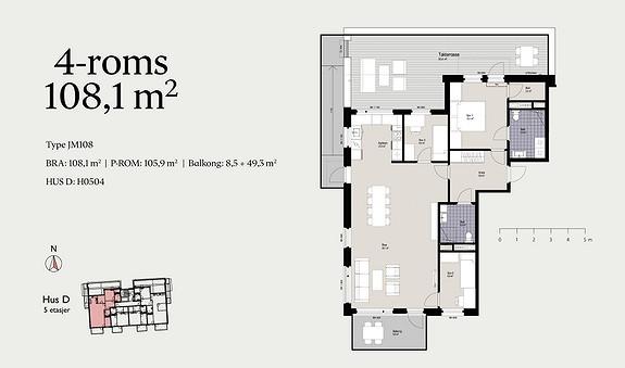 Plantegning som viser leilighet D0504 - JM108