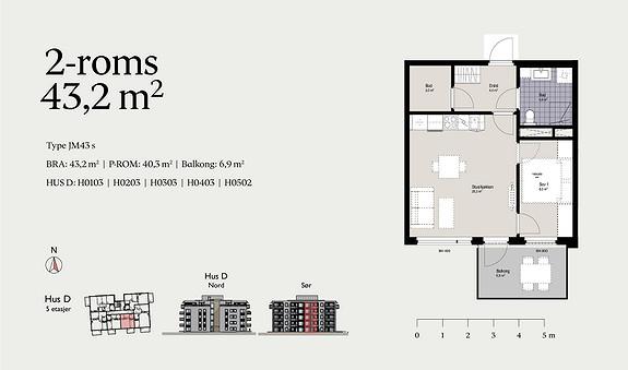 Plantegning som viser leilighet D0203 - JM43