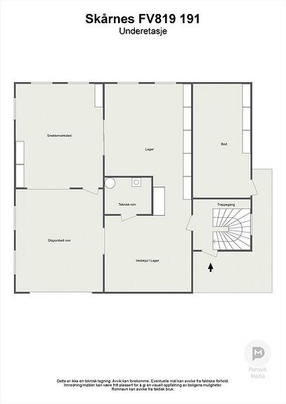 Underetasje - 3D - 120 m2 uutnyttet potensiale