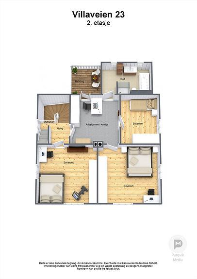 Villaveien 23 - 2. etasje - 3D