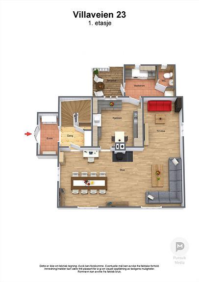 Villaveien 23 - 1. etasje - 3D