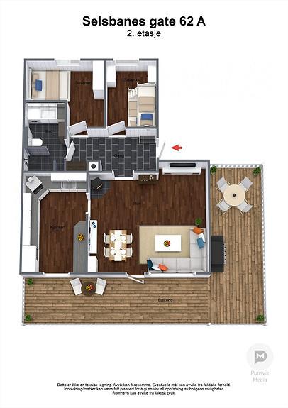 Selsbanes gate 62 A - 2. etasje - 3D