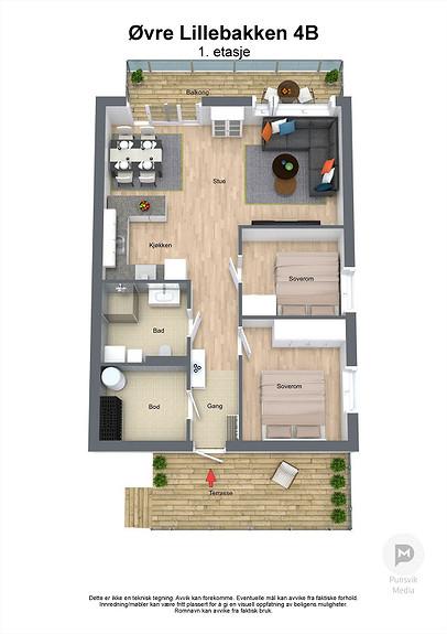 Øvre Lillebakken 4B - 1. etasje - 3D