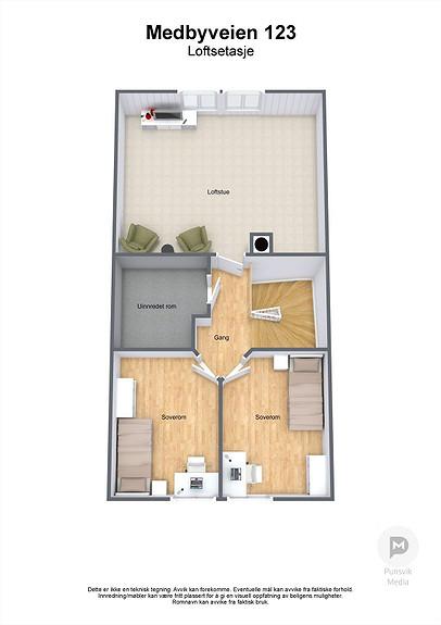 Medbyveien 123 - Loftsetasje - 3D