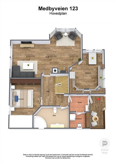 Medbyveien 123 - Hovedplan - 3D