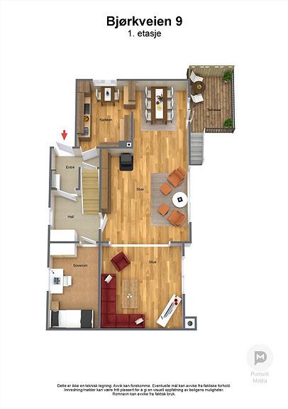 Bjørkveien 9 - 1. etasje - 3D