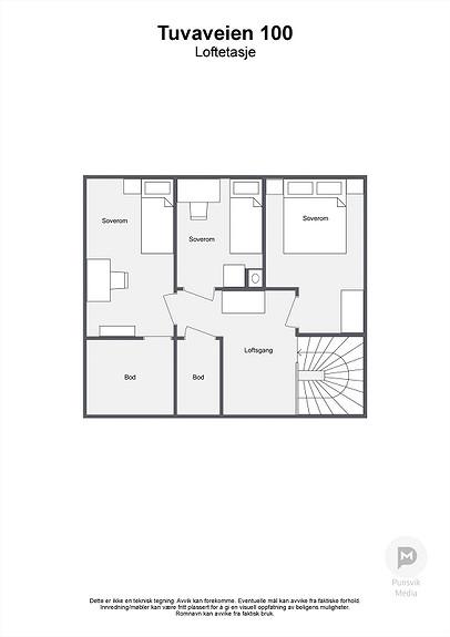 Tuvaveien 100 - Loftetasje - 2D