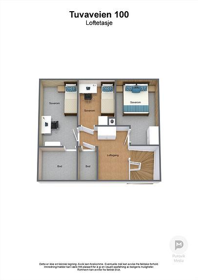 Tuvaveien 100 - Loftetasje - 3D