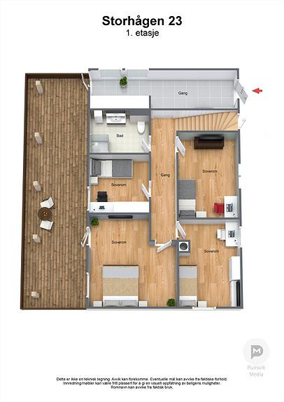 Storhågen 23 - 1. etasje - 3D