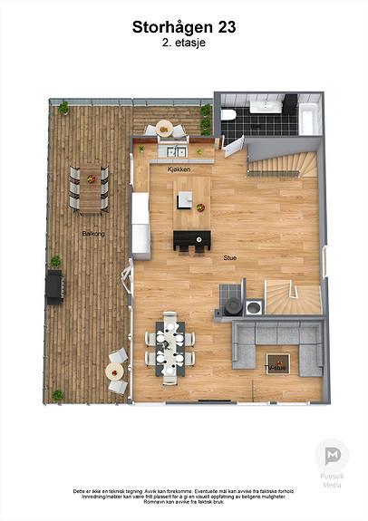 Storhågen 23 - 2. etasje - 3D