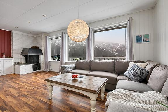Store vindusflater i stuen gir mye naturlig lys