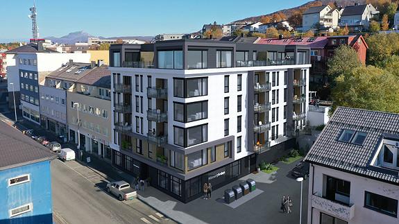 Første etasje vil inneholde fellesarealer, blant annet en leilighet med bad. Denne kan beboere leie/disponere etter avtale med styret, hvis helgebesøket vil ha egen plass å bo.