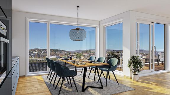 Flott utsikt over byen, med store vindusflater.