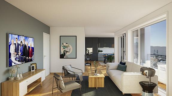 Illustrasjon fra leilighet i 6. Etasje.