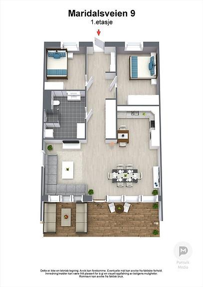 Maridalsveien 13A  1. etasje - 3D