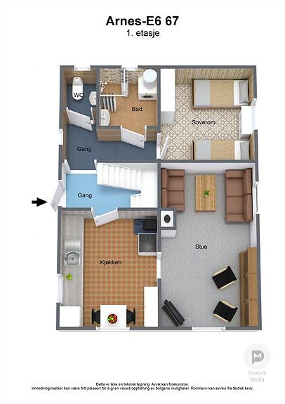 Arnes-E6 67 - 1. etasje - 3D