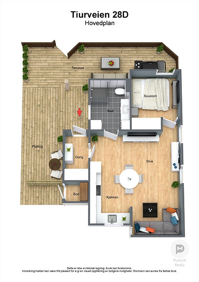 Tiurveien 28D - Hovedplan - 3D