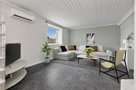 Stue malt i lyse farger - Foto digitalt møblert