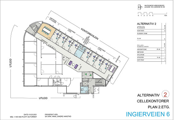 Plantegning 2.etasje - ledige lokaler skissert som cellekontorer