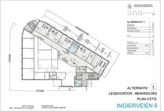 Plantegning 2.etasje - ledige lokaler skissert for mulig legekontor eller annen behandling.
