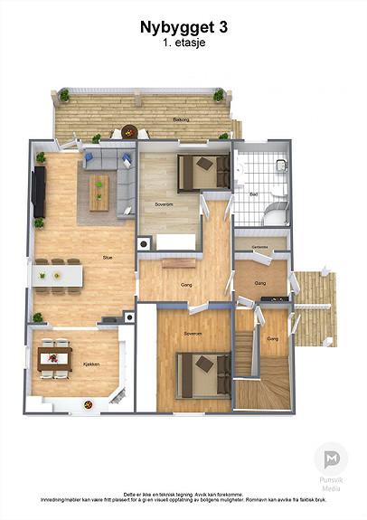 Nybygget 3 - 1. etasje - 3D