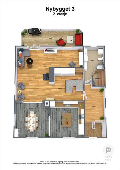 Nybygget 3 - 2. etasje - 3D