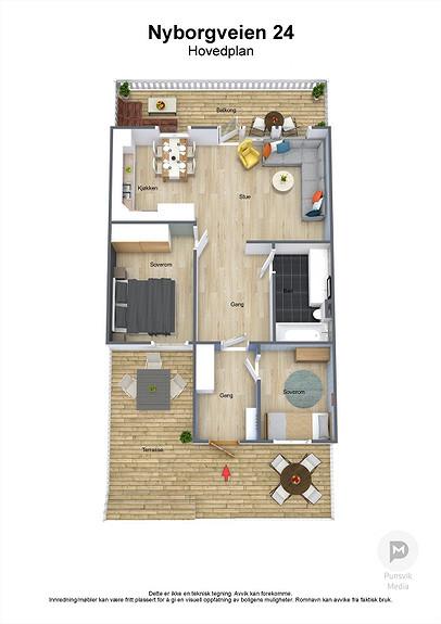 Nyborgveien 24 - Hovedplan - 3D