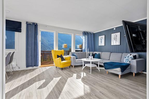 Stue i tidsriktige farger og flott utsikt