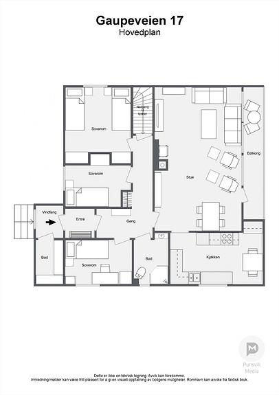 Gaupeveien 17 - Hovedplan - 2D