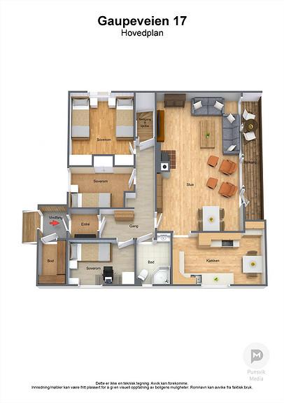Gaupeveien 17 - Hovedplan - 3D