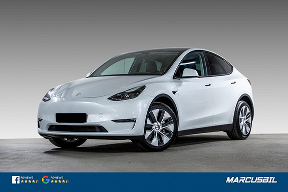 "Tesla Model Y LONG RANGE AP/HIFI/VINTER/19""  2021, 1300 km, kr 569900,-"